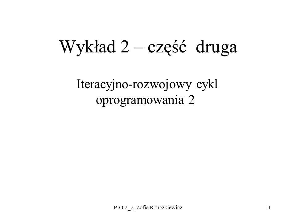 PIO 2_2, Zofia Kruczkiewicz1 Wykład 2 – część druga Iteracyjno-rozwojowy cykl oprogramowania 2