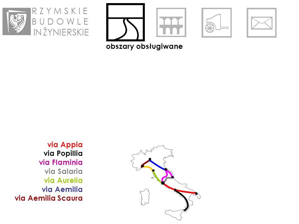 R Z Y M S K I E B U D O W L E IN ŻYNIE RSKIE obszary obsługiwane via Appia via Popillia via Flaminia via Salaria via Aurelia via Aemilia via Aemilia Scaura