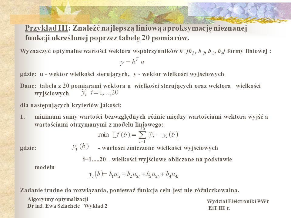 Wydział Elektroniki PWr EiT III r. Algorytmy optymalizacji Dr inż. Ewa Szlachcic Wykład 2 Przykład III: Znaleźć najlepszą liniową aproksymację nieznan
