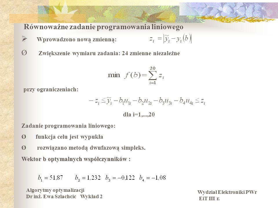 Wydział Elektroniki PWr EiT III r. Algorytmy optymalizacji Dr inż. Ewa Szlachcic Wykład 2 Równoważne zadanie programowania liniowego Wprowadzono nową
