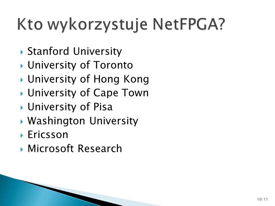 Stanford University University of Toronto University of Hong Kong University of Cape Town University of Pisa Washington University Ericsson Microsoft