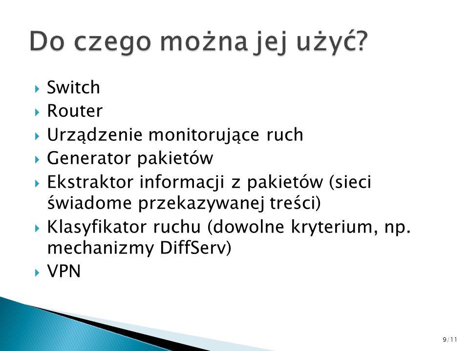 Switch Router Urządzenie monitorujące ruch Generator pakietów Ekstraktor informacji z pakietów (sieci świadome przekazywanej treści) Klasyfikator ruch