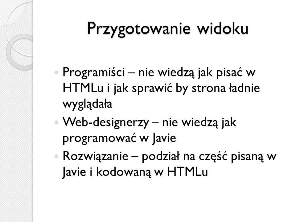 Przygotowanie widoku Programiści – nie wiedzą jak pisać w HTMLu i jak sprawić by strona ładnie wyglądała Web-designerzy – nie wiedzą jak programować w