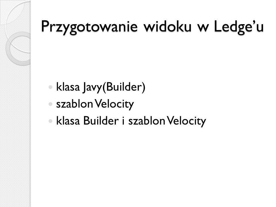 Przygotowanie widoku w Ledgeu klasa Javy(Builder) szablon Velocity klasa Builder i szablon Velocity