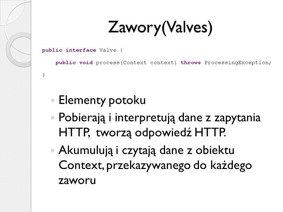 Zawory(Valves) Elementy potoku Pobierają i interpretują dane z zapytania HTTP, tworzą odpowiedź HTTP. Akumulują i czytają dane z obiektu Context, prze