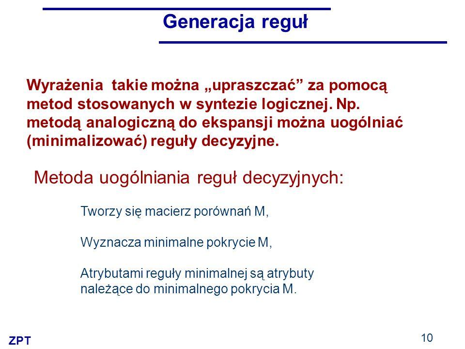 ZPT 10 Generacja reguł Metoda uogólniania reguł decyzyjnych: Tworzy się macierz porównań M, Wyznacza minimalne pokrycie M, Atrybutami reguły minimalnej są atrybuty należące do minimalnego pokrycia M.