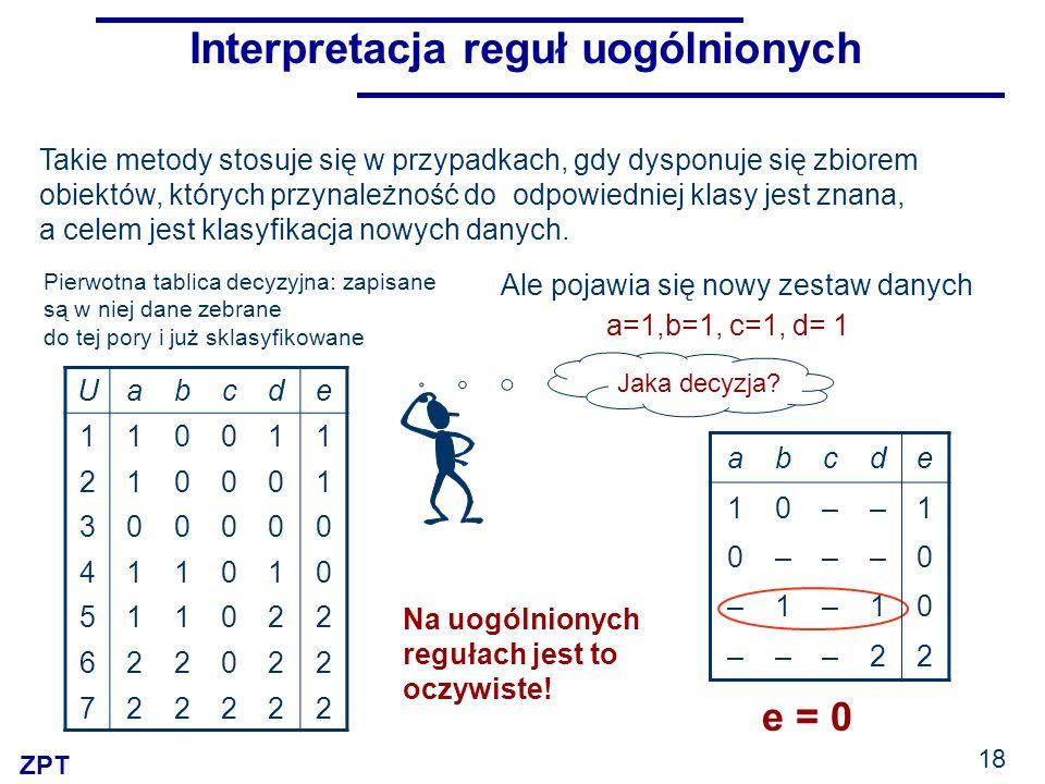 ZPT 18 Interpretacja reguł uogólnionych Uabcde 110011 210001 300000 411010 511022 622022 722222 Pierwotna tablica decyzyjna: zapisane są w niej dane zebrane do tej pory i już sklasyfikowane abcde 10––1 0–––0 –1–10 –––22 Takie metody stosuje się w przypadkach, gdy dysponuje się zbiorem obiektów, których przynależność do odpowiedniej klasy jest znana, a celem jest klasyfikacja nowych danych.