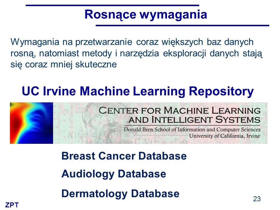 ZPT 23 UC Irvine Machine Learning Repository Breast Cancer Database Audiology Database Dermatology Database Wymagania na przetwarzanie coraz większych baz danych rosną, natomiast metody i narzędzia eksploracji danych stają się coraz mniej skuteczne Rosnące wymagania