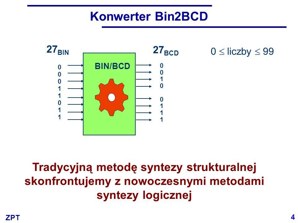 ZPT Konwerter Bin2BCD BIN/BCD 0 liczby 99 0001101100011011 27 BIN 4 Tradycyjną metodę syntezy strukturalnej skonfrontujemy z nowoczesnymi metodami syn