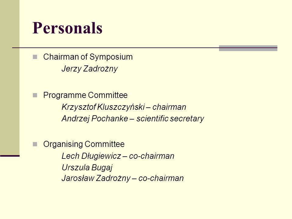 Personals Chairman of Symposium Jerzy Zadrożny Programme Committee Krzysztof Kluszczyński – chairman Andrzej Pochanke – scientific secretary Organisin