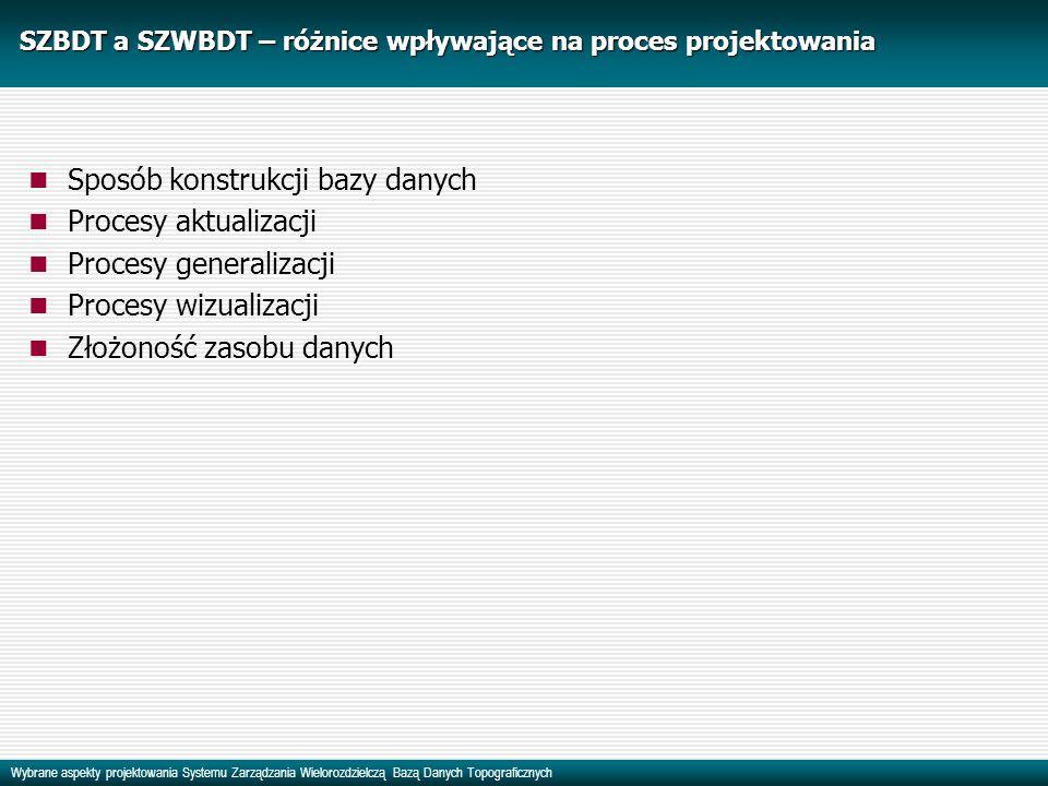 Wybrane aspekty projektowania Systemu Zarządzania Wielorozdzielczą Bazą Danych Topograficznych SZBDT a SZWBDT – różnice wpływające na proces projektow