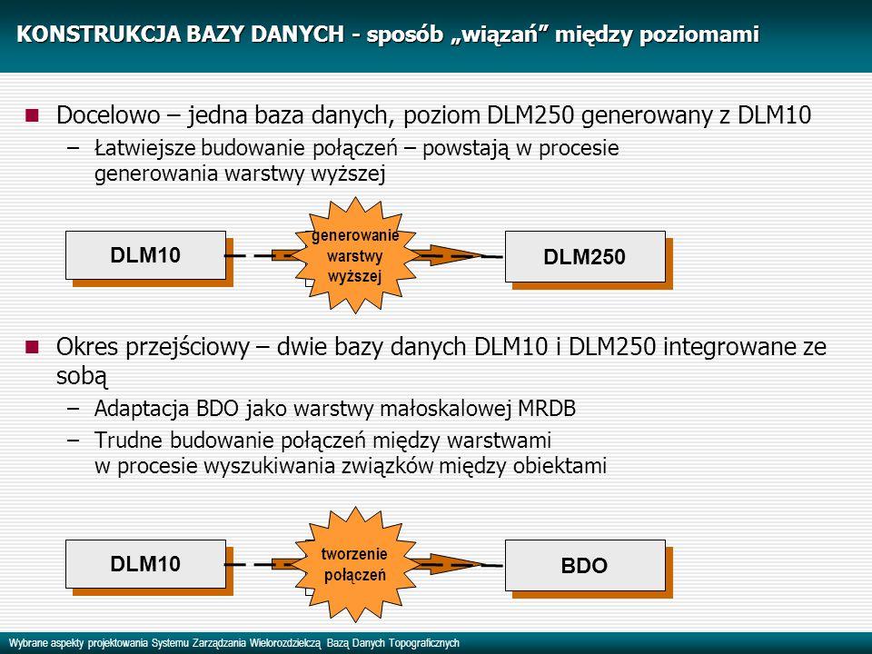 Wybrane aspekty projektowania Systemu Zarządzania Wielorozdzielczą Bazą Danych Topograficznych KONSTRUKCJA BAZY DANYCH - sposób wiązań między poziomami Docelowo – jedna baza danych, poziom DLM250 generowany z DLM10 –Łatwiejsze budowanie połączeń – powstają w procesie generowania warstwy wyższej Okres przejściowy – dwie bazy danych DLM10 i DLM250 integrowane ze sobą –Adaptacja BDO jako warstwy małoskalowej MRDB –Trudne budowanie połączeń między warstwami w procesie wyszukiwania związków między obiektami DLM10 DLM250 BDO DLM10 DLM250 tabele połączeń tworzenie połączeń tabele połączeń generowanie warstwy wyższej