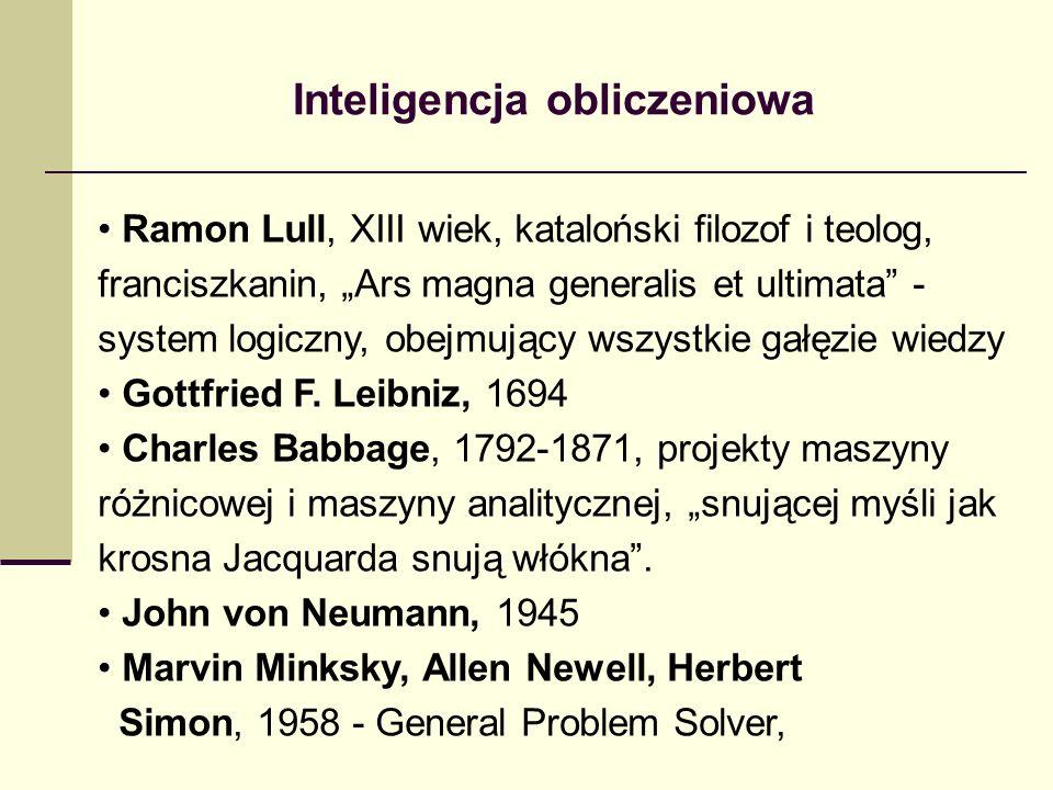 Inteligencja obliczeniowa Ramon Lull, XIII wiek, kataloński filozof i teolog, franciszkanin, Ars magna generalis et ultimata - system logiczny, obejmu