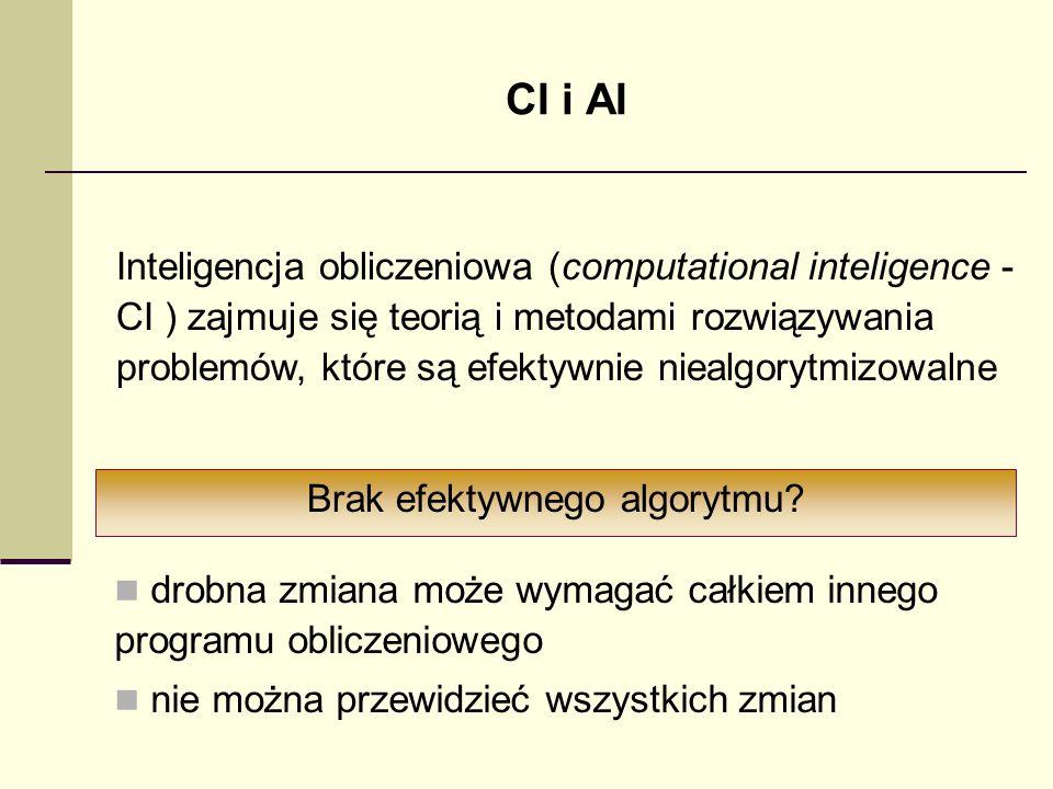 CI i AI Inteligencja obliczeniowa (computational inteligence - CI ) zajmuje się teorią i metodami rozwiązywania problemów, które są efektywnie niealgo