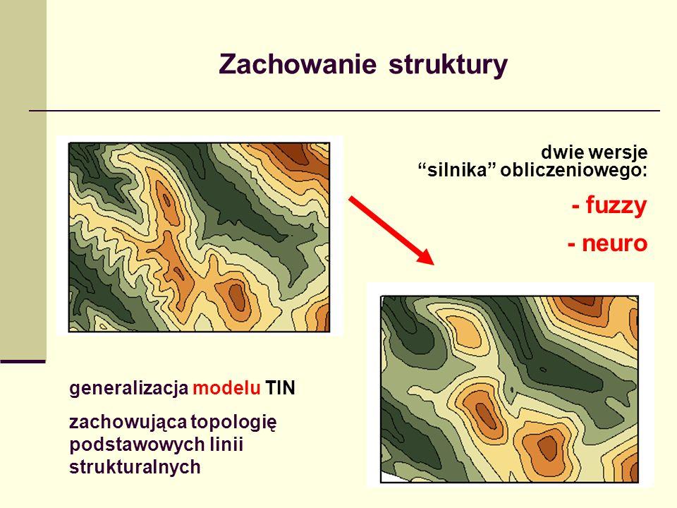 Zachowanie struktury generalizacja modelu TIN zachowująca topologię podstawowych linii strukturalnych dwie wersje silnika obliczeniowego: - fuzzy - ne