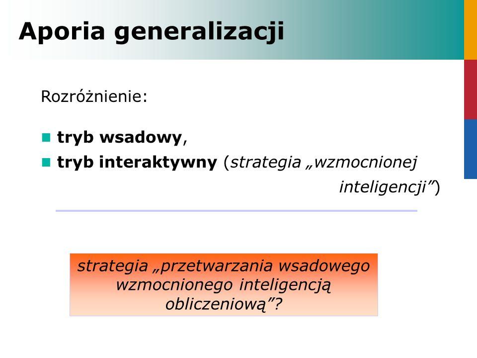 Rozróżnienie: tryb wsadowy, tryb interaktywny (strategia wzmocnionej inteligencji) Aporia generalizacji strategia przetwarzania wsadowego wzmocnionego