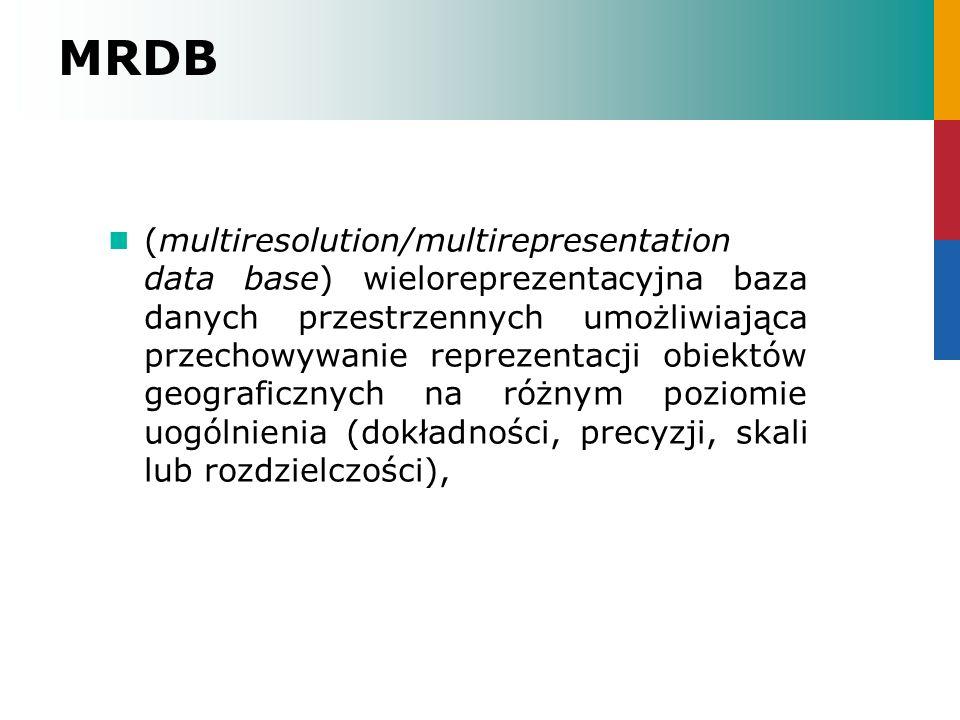 MRDB (multiresolution/multirepresentation data base) wieloreprezentacyjna baza danych przestrzennych umożliwiająca przechowywanie reprezentacji obiekt