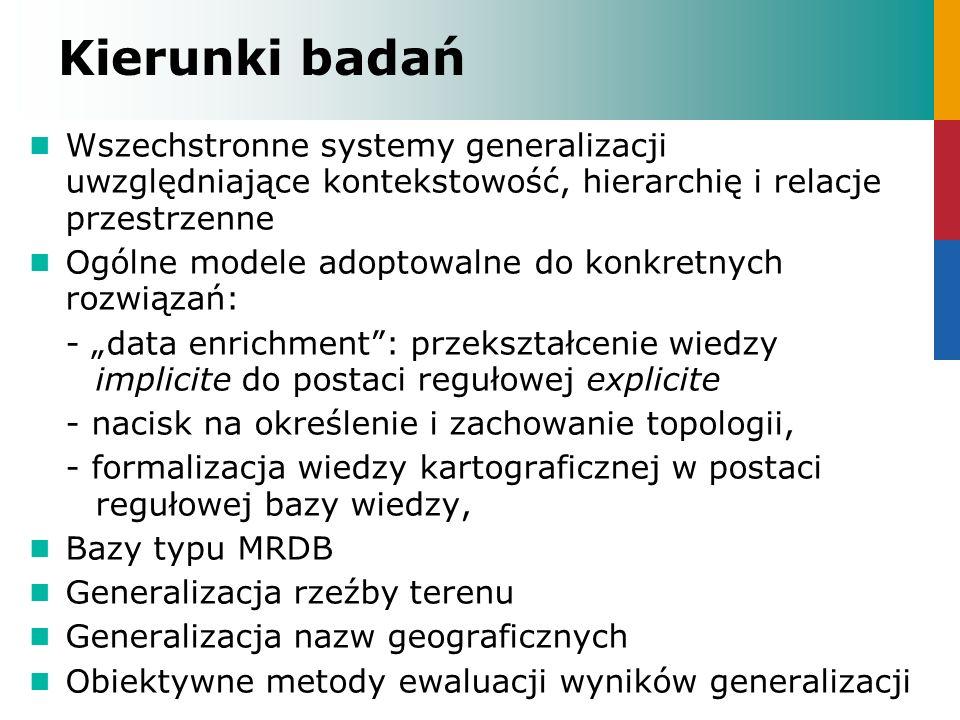 Kierunki badań Wszechstronne systemy generalizacji uwzględniające kontekstowość, hierarchię i relacje przestrzenne Ogólne modele adoptowalne do konkre