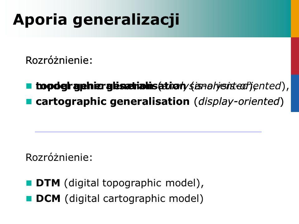 generalizacja modelu (topograficzna): - selekcja obiektów, - klasyfikacja obiektów, - hierarchiczna agregacja obiektów i klas obiektów, - uproszczenie - redukcja liczby węzłów (simplification), - zmiana reprezentacji geometrycznej resymbolizacja graficzna generalizacja graficzna: - wygładzenie kształtów (smoothing), - przewiększenie, - przesunięcie, - obrót, - resubstytucja, -...