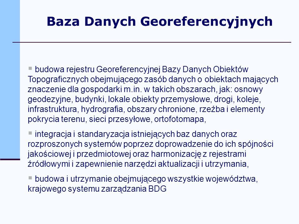 budowa rejestru Georeferencyjnej Bazy Danych Obiektów Topograficznych obejmującego zasób danych o obiektach mających znaczenie dla gospodarki m.in. w