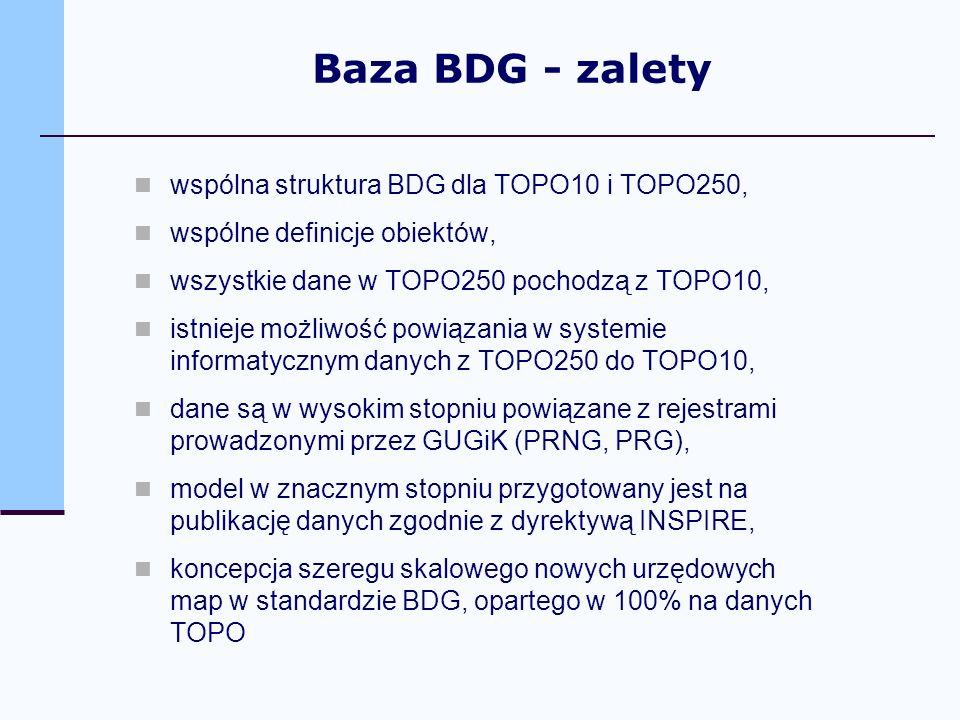 wspólna struktura BDG dla TOPO10 i TOPO250, wspólne definicje obiektów, wszystkie dane w TOPO250 pochodzą z TOPO10, istnieje możliwość powiązania w sy