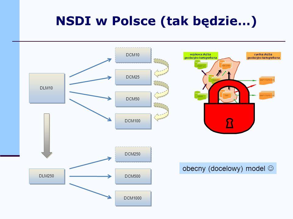 DLM10 DCM10 DCM25 DCM50 DCM100 DLM250 DCM1000 DCM500 DCM250 obecny (docelowy) model NSDI w Polsce (tak będzie…)