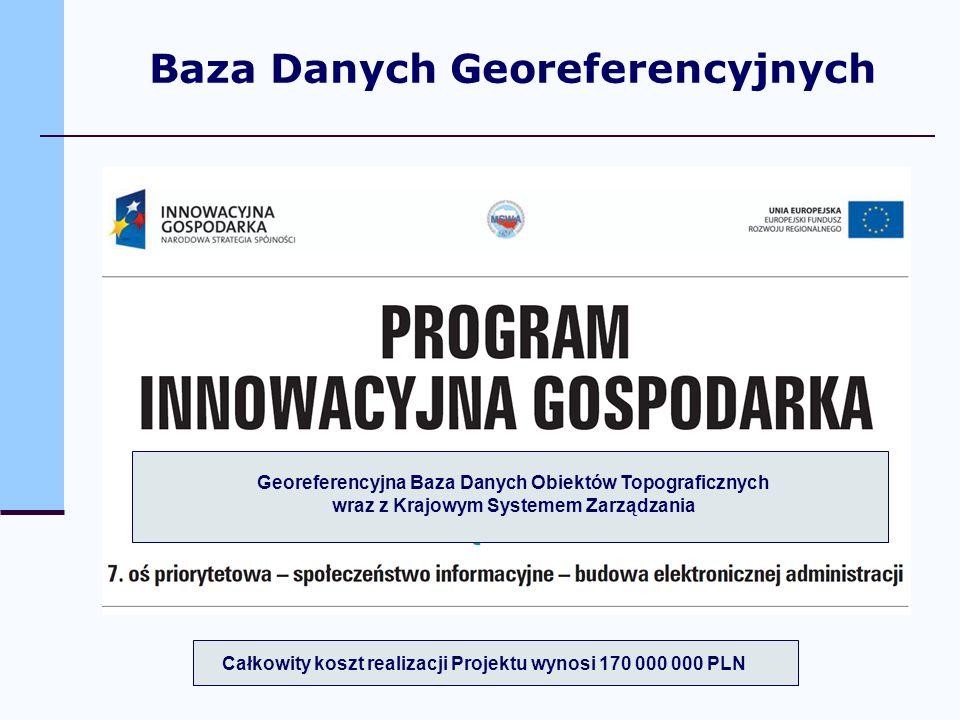 Georeferencyjna Baza Danych Obiektów Topograficznych wraz z Krajowym Systemem Zarządzania Całkowity koszt realizacji Projektu wynosi 170 000 000 PLN B