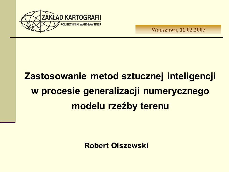 Zastosowanie metod sztucznej inteligencji w procesie generalizacji numerycznego modelu rzeźby terenu Warszawa, 11.02.2005 Robert Olszewski