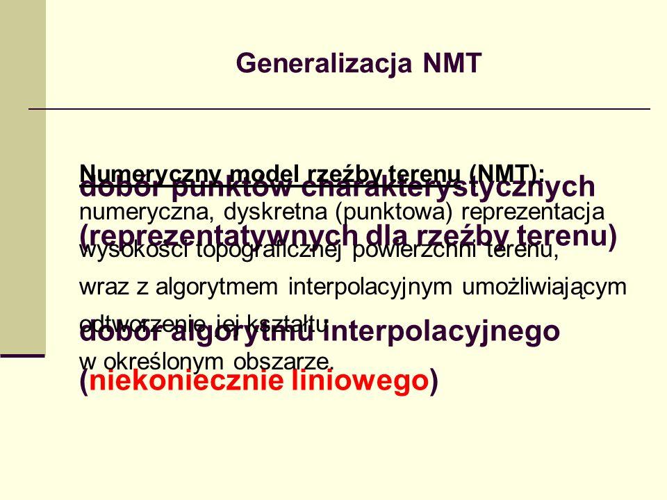 Generalizacja NMT dobór punktów charakterystycznych (reprezentatywnych dla rzeźby terenu) dobór algorytmu interpolacyjnego (niekoniecznie liniowego) Numeryczny model rzeźby terenu (NMT): numeryczna, dyskretna (punktowa) reprezentacja wysokości topograficznej powierzchni terenu, wraz z algorytmem interpolacyjnym umożliwiającym odtworzenie jej kształtu w określonym obszarze.
