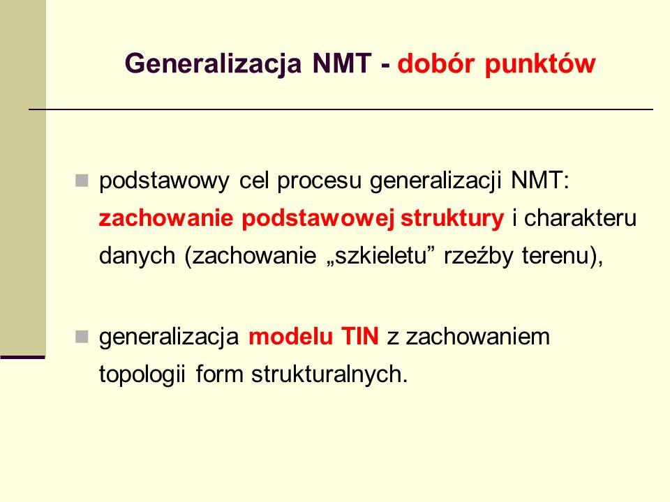 podstawowy cel procesu generalizacji NMT: zachowanie podstawowej struktury i charakteru danych (zachowanie szkieletu rzeźby terenu), generalizacja modelu TIN z zachowaniem topologii form strukturalnych.