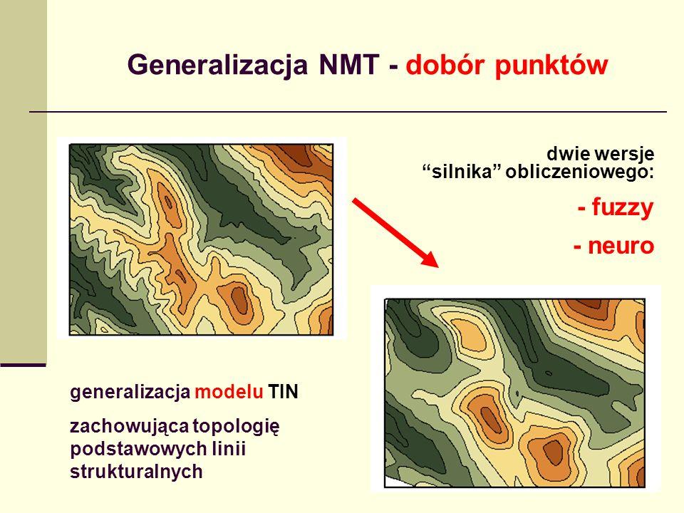 Generalizacja NMT - dobór punktów generalizacja modelu TIN zachowująca topologię podstawowych linii strukturalnych dwie wersje silnika obliczeniowego: - fuzzy - neuro