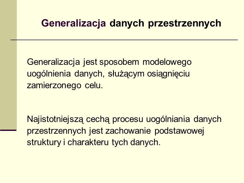 Generalizacja danych przestrzennych Generalizacja jest sposobem modelowego uogólnienia danych, służącym osiągnięciu zamierzonego celu.