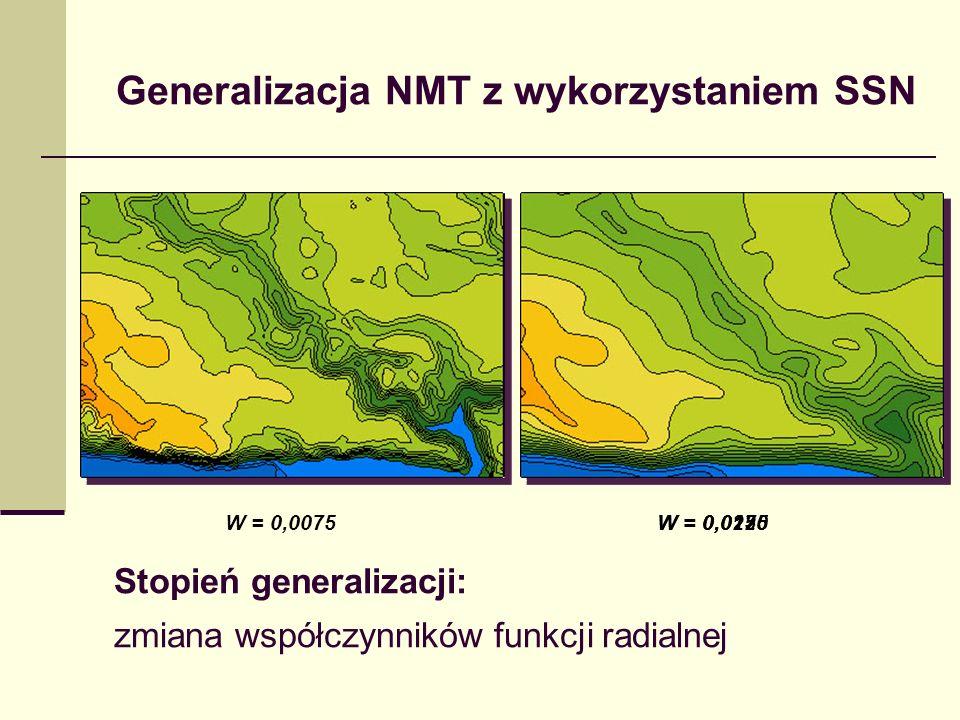 Generalizacja NMT z wykorzystaniem SSN Stopień generalizacji: zmiana współczynników funkcji radialnej W = 0,0125W = 0,0075W = 0,0175W = 0,0250