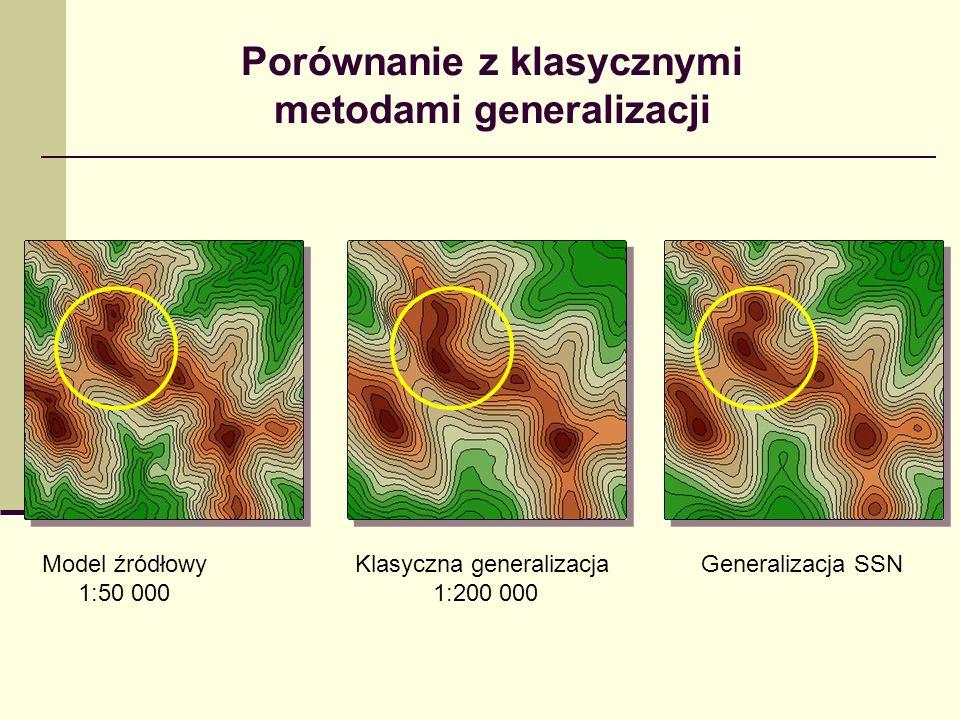 Porównanie z klasycznymi metodami generalizacji Model źródłowy 1:50 000 Klasyczna generalizacja 1:200 000 Generalizacja SSN