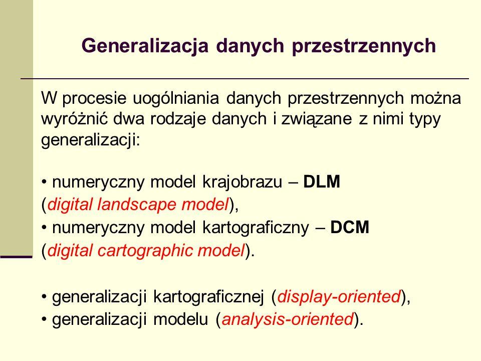 W procesie uogólniania danych przestrzennych można wyróżnić dwa rodzaje danych i związane z nimi typy generalizacji: numeryczny model krajobrazu – DLM (digital landscape model), numeryczny model kartograficzny – DCM (digital cartographic model).