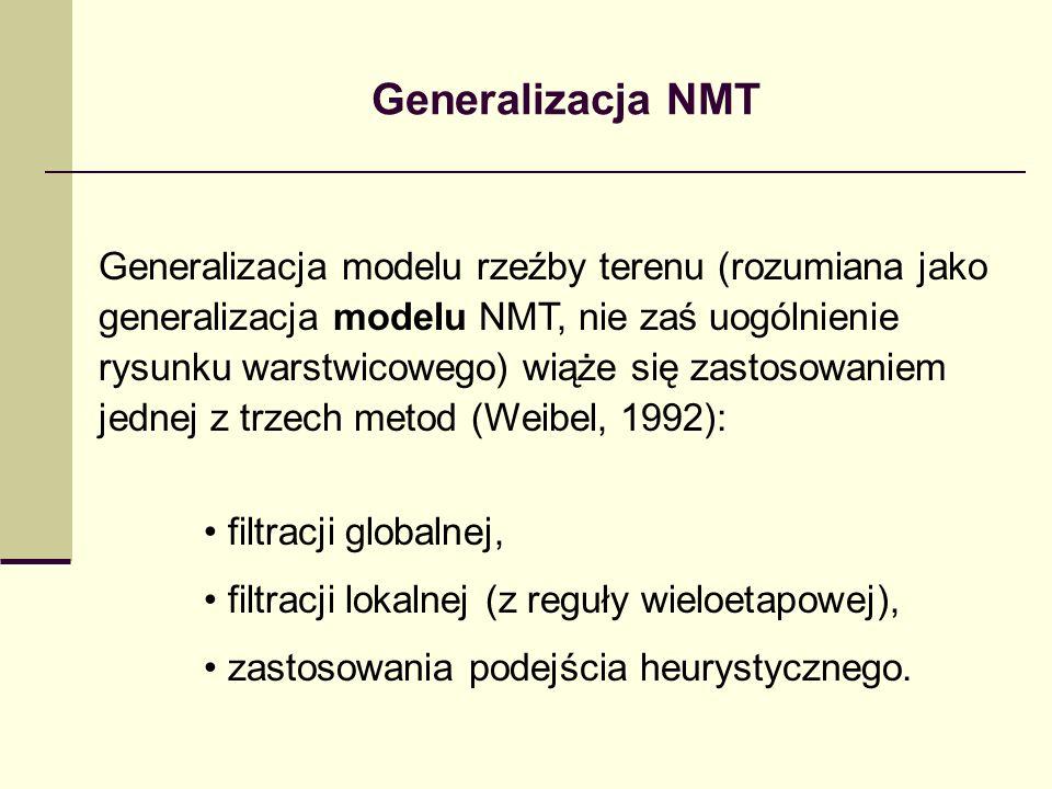 Generalizacja NMT Generalizacja modelu rzeźby terenu (rozumiana jako generalizacja modelu NMT, nie zaś uogólnienie rysunku warstwicowego) wiąże się zastosowaniem jednej z trzech metod (Weibel, 1992): filtracji globalnej, filtracji lokalnej (z reguły wieloetapowej), zastosowania podejścia heurystycznego.