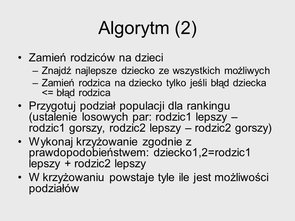 Algorytm (3) Dla każdego rodzica wykonaj mutację zgodnie z prawdopodobieństwem –jeśli liczba żywych chromosomów przekroczy próg (50%) mutacji podlegają również chromosomy żywe