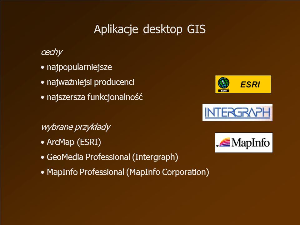 cechy najpopularniejsze najważniejsi producenci najszersza funkcjonalność wybrane przykłady ArcMap (ESRI) GeoMedia Professional (Intergraph) MapInfo Professional (MapInfo Corporation) Aplikacje desktop GIS
