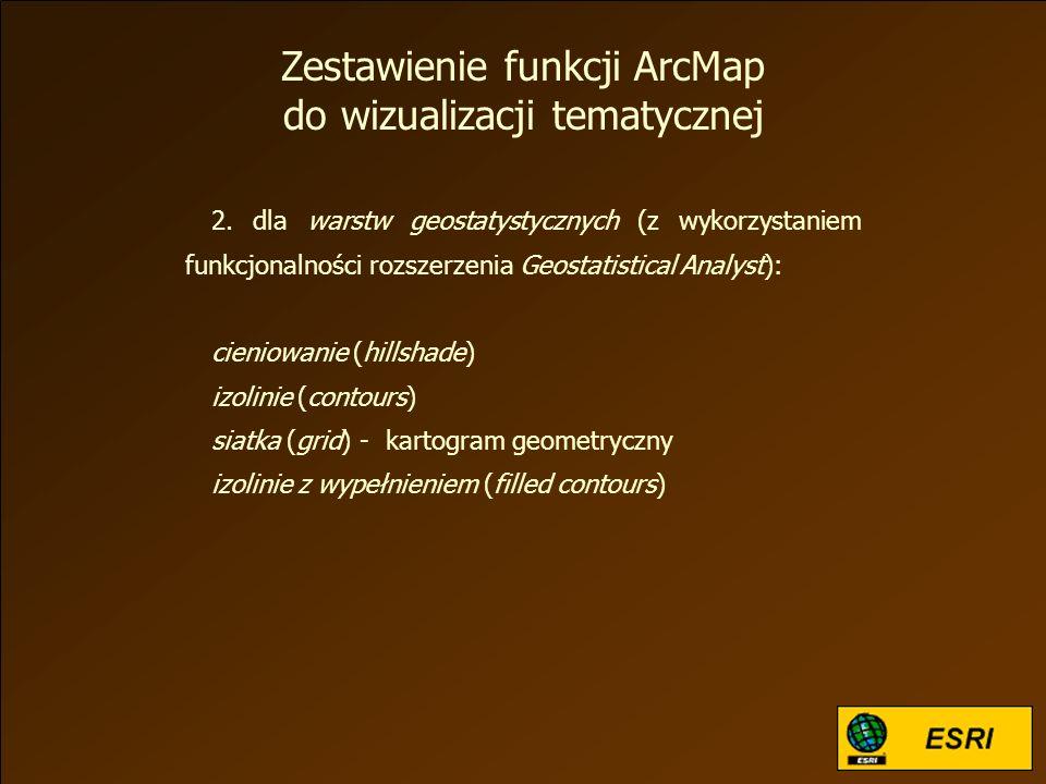 2. dla warstw geostatystycznych (z wykorzystaniem funkcjonalności rozszerzenia Geostatistical Analyst): cieniowanie (hillshade) izolinie (contours) si