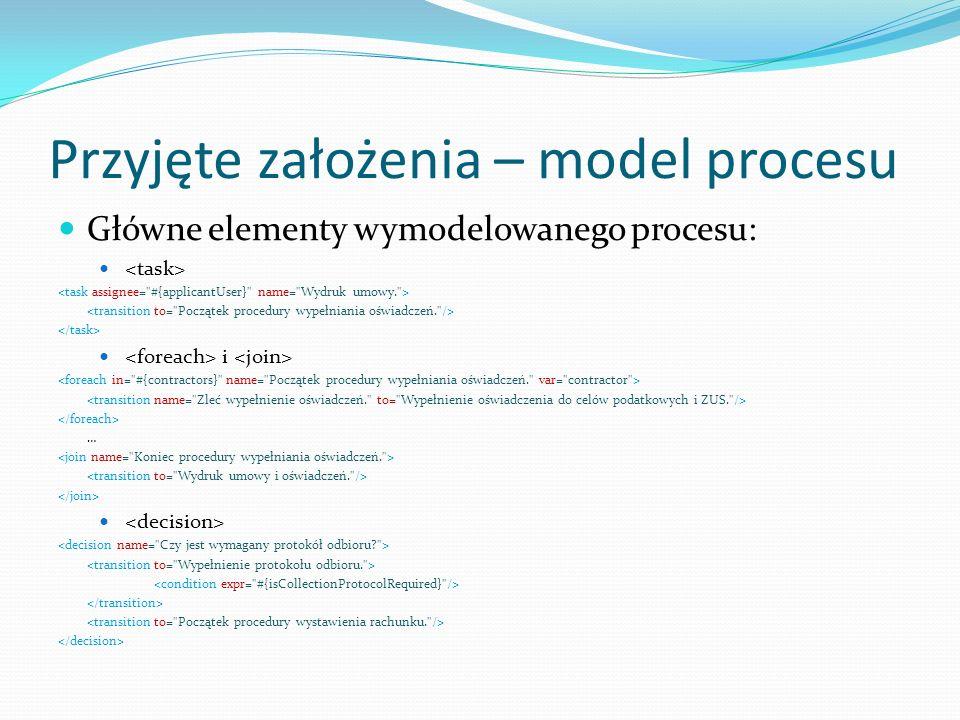 Przyjęte założenia – model procesu Główne elementy wymodelowanego procesu: i …