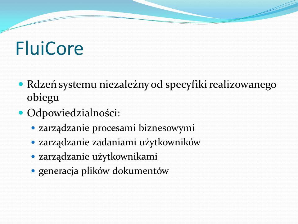 FluiCore Rdzeń systemu niezależny od specyfiki realizowanego obiegu Odpowiedzialności: zarządzanie procesami biznesowymi zarządzanie zadaniami użytkow