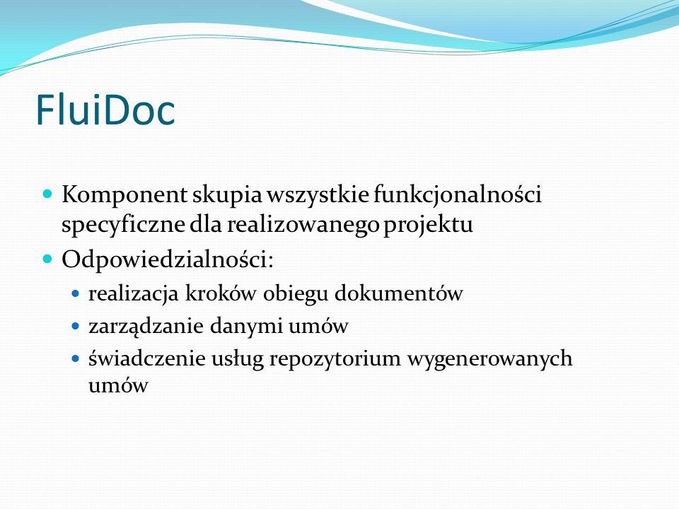 FluiDoc Komponent skupia wszystkie funkcjonalności specyficzne dla realizowanego projektu Odpowiedzialności: realizacja kroków obiegu dokumentów zarządzanie danymi umów świadczenie usług repozytorium wygenerowanych umów