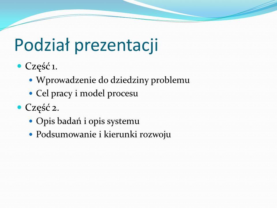 Podział prezentacji Część 1. Wprowadzenie do dziedziny problemu Cel pracy i model procesu Część 2. Opis badań i opis systemu Podsumowanie i kierunki r
