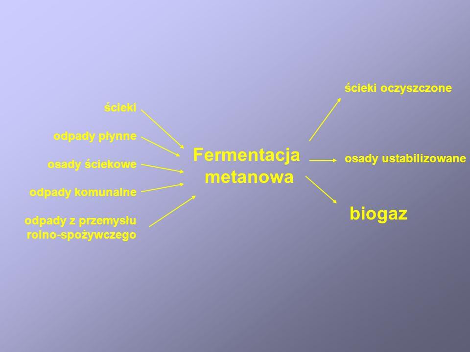 Fermentacja metanowa Przekształcenie związków organicznych o różnym stopniu utlenienia do metanu i CO 2 w warunkach beztlenowych.
