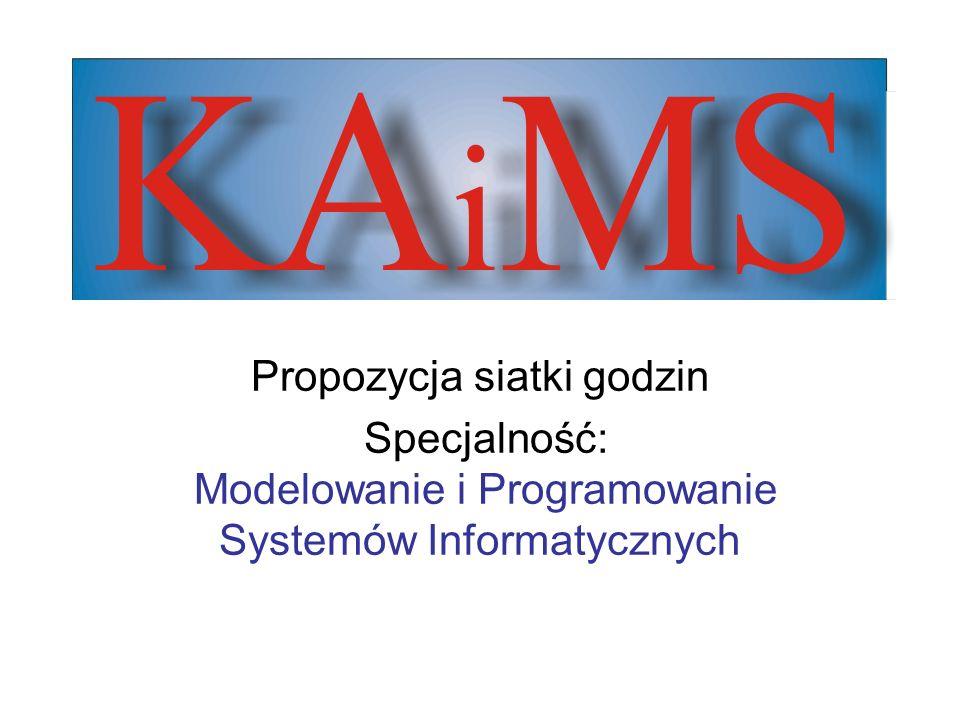 Propozycja siatki godzin Specjalność: Modelowanie i Programowanie Systemów Informatycznych