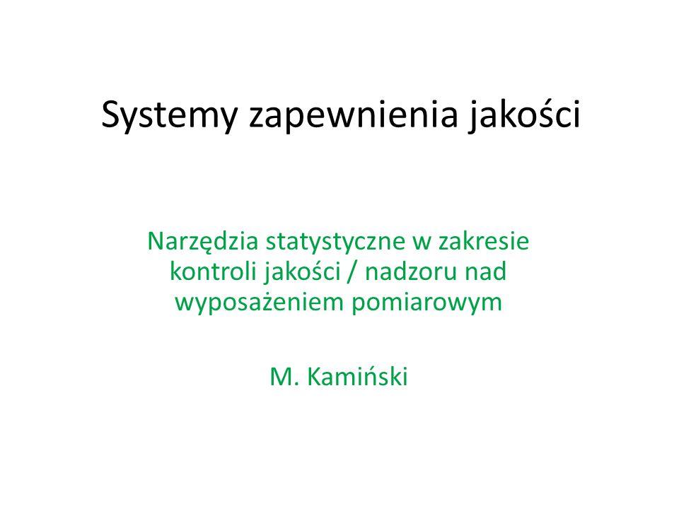 Systemy zapewnienia jakości Narzędzia statystyczne w zakresie kontroli jakości / nadzoru nad wyposażeniem pomiarowym M.