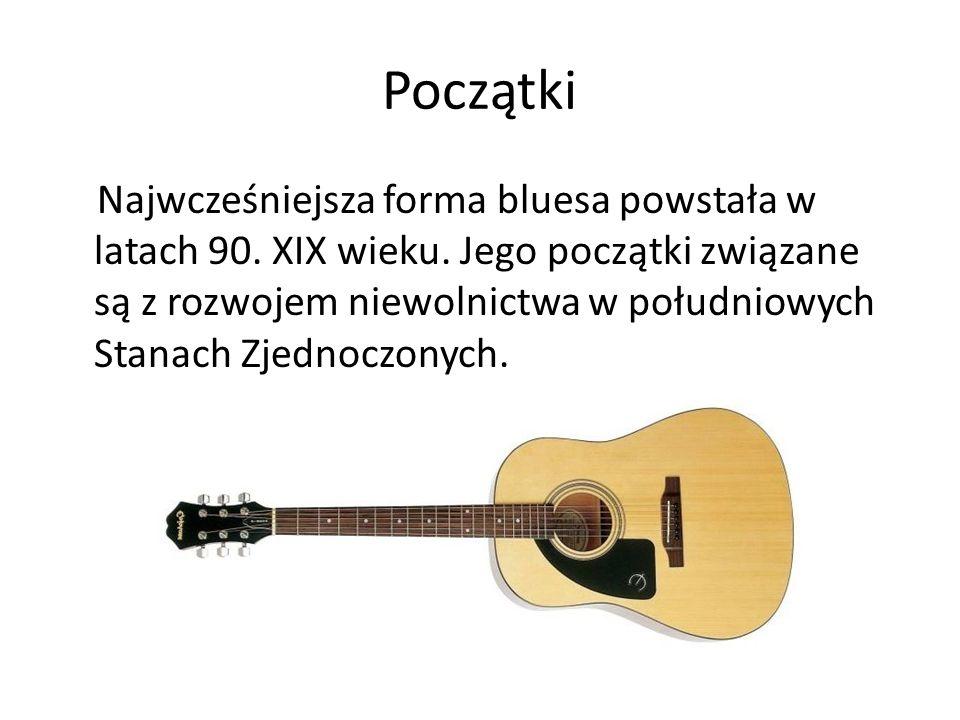 Instrumenty Najbardziej lubianym instrumentem muzyków country bluesowych stała się gitara, przywieziona przez czarnych niewolników z Meksyku.