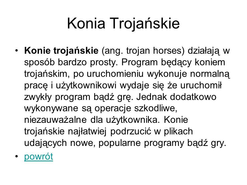 Konia Trojańskie Konie trojańskie (ang. trojan horses) działają w sposób bardzo prosty. Program będący koniem trojańskim, po uruchomieniu wykonuje nor
