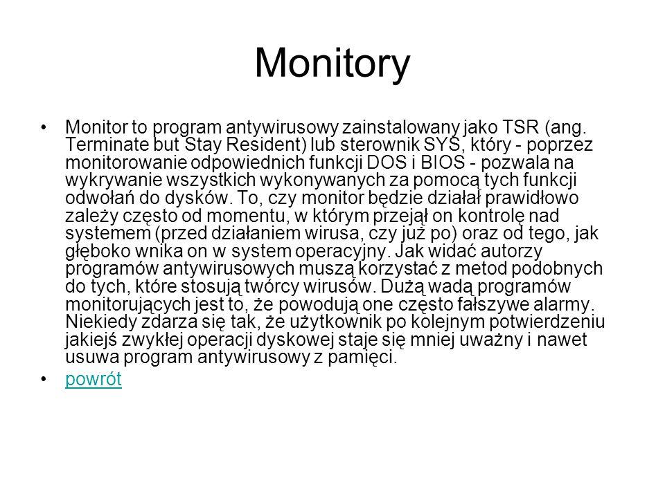 Monitory Monitor to program antywirusowy zainstalowany jako TSR (ang. Terminate but Stay Resident) lub sterownik SYS, który - poprzez monitorowanie od
