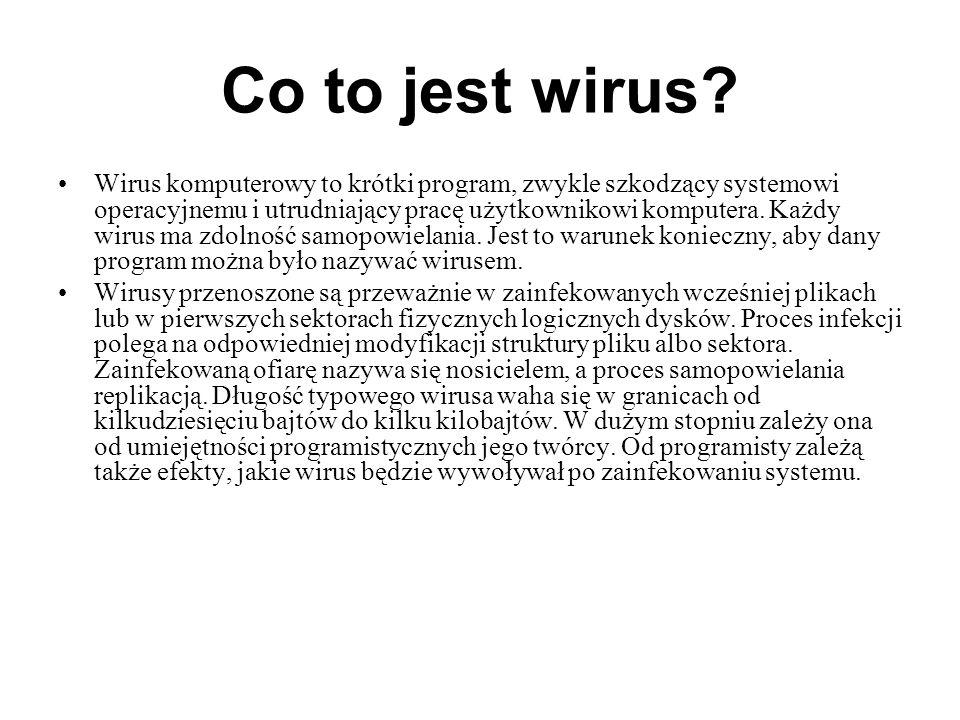Co to jest wirus? Wirus komputerowy to krótki program, zwykle szkodzący systemowi operacyjnemu i utrudniający pracę użytkownikowi komputera. Każdy wir